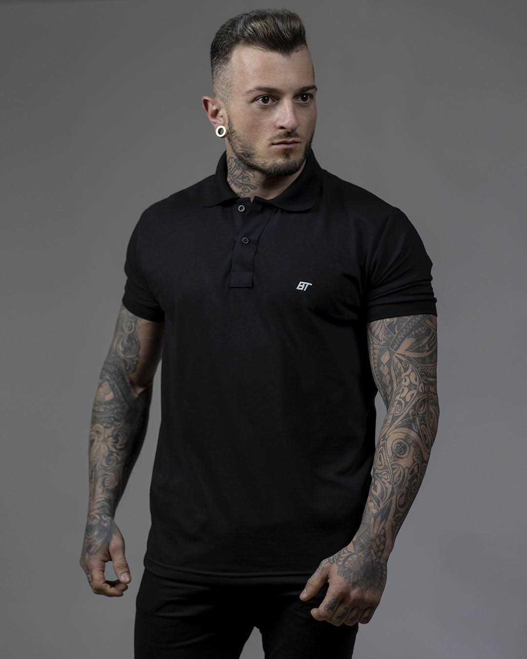 Camiseta Polo Masculina Preta Underground BT