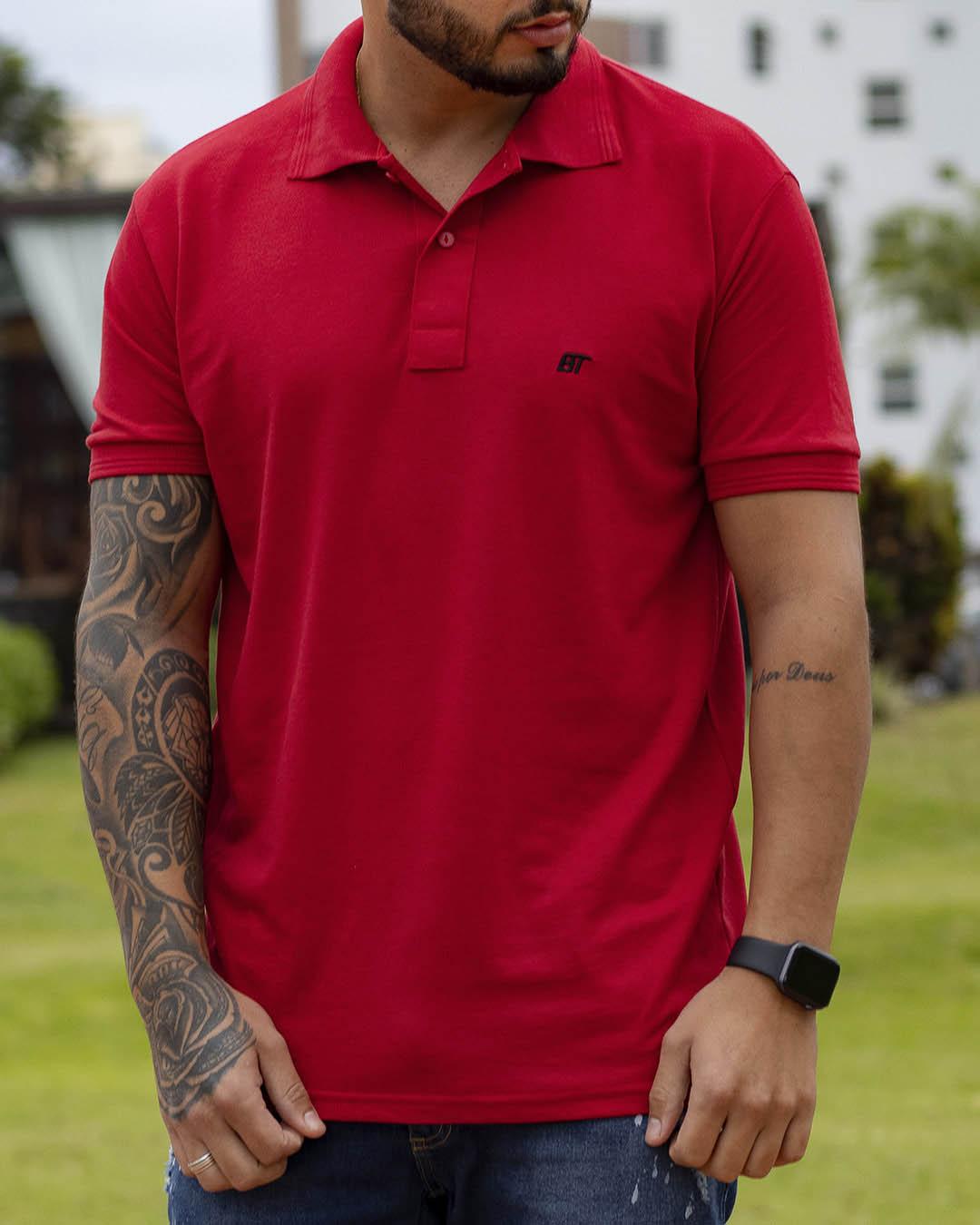 Camiseta Polo Masculina Sniper Vermelha