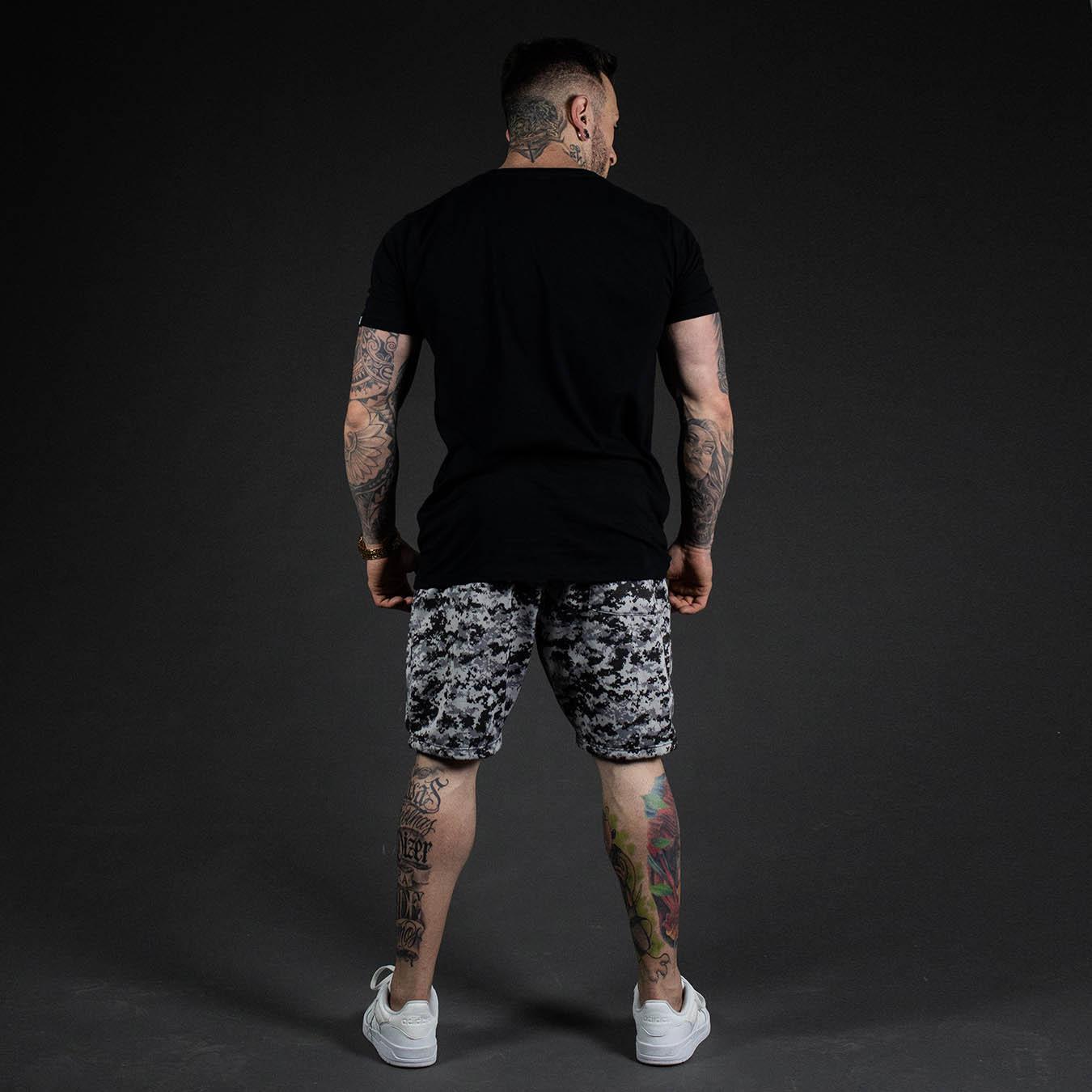 Kit Camiseta Longline Black Night + Shorts Moletom Camuflado Snake