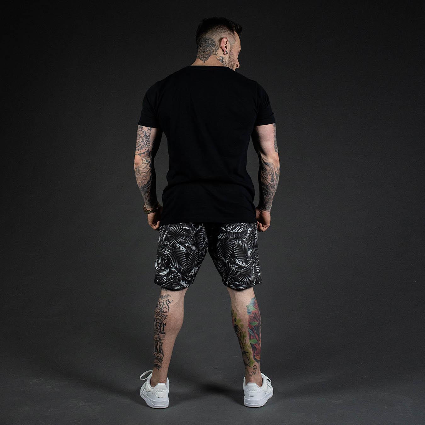 Kit Camiseta Longline Black Night + Shorts Moletom Floral Sheets