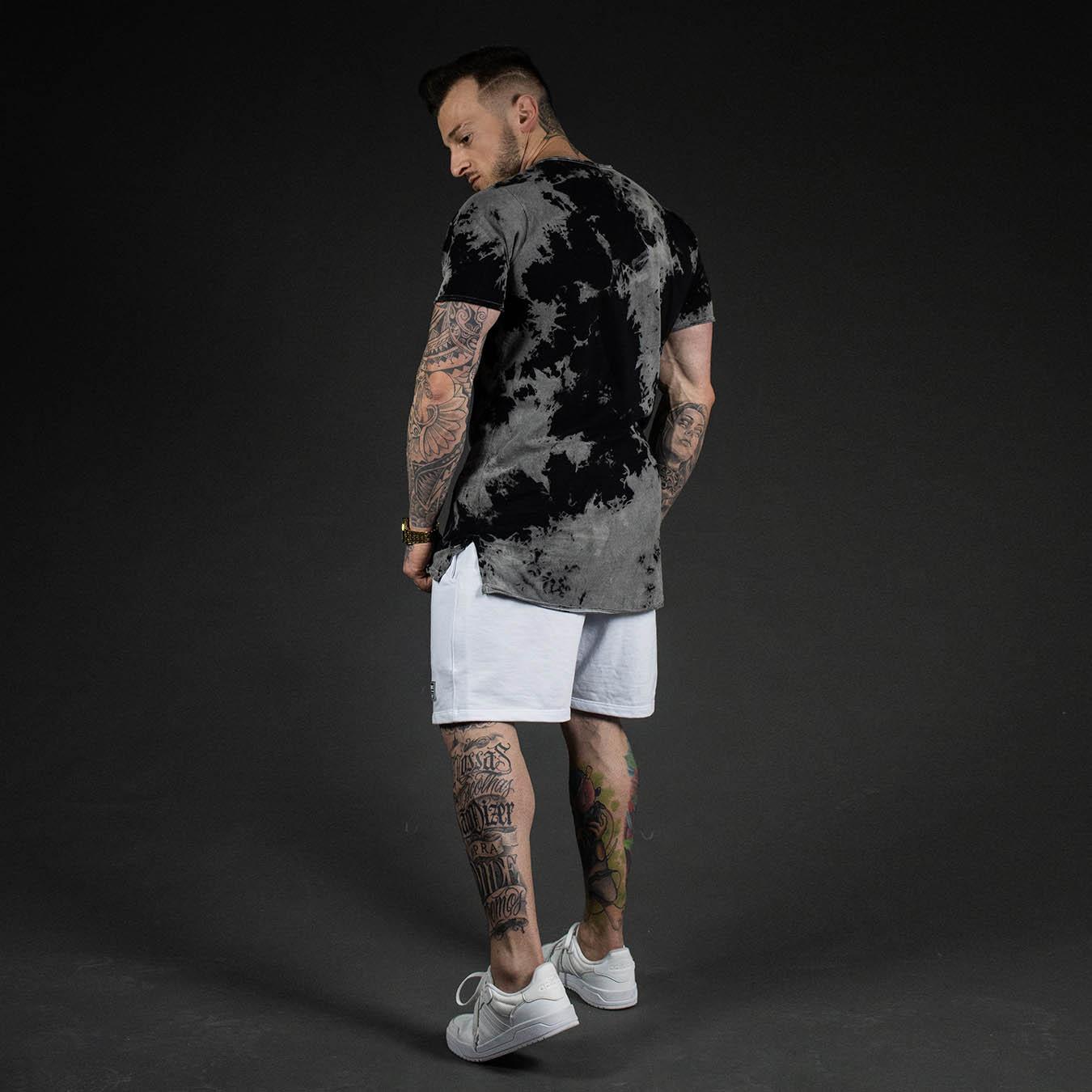 Kit Camiseta Longline Estonada BT + Shorts Moletom White Lux