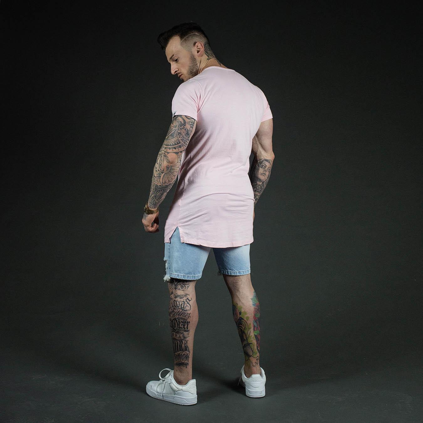 Kit Camiseta Longline Rosa Wish + Shorts Jeans White Scream