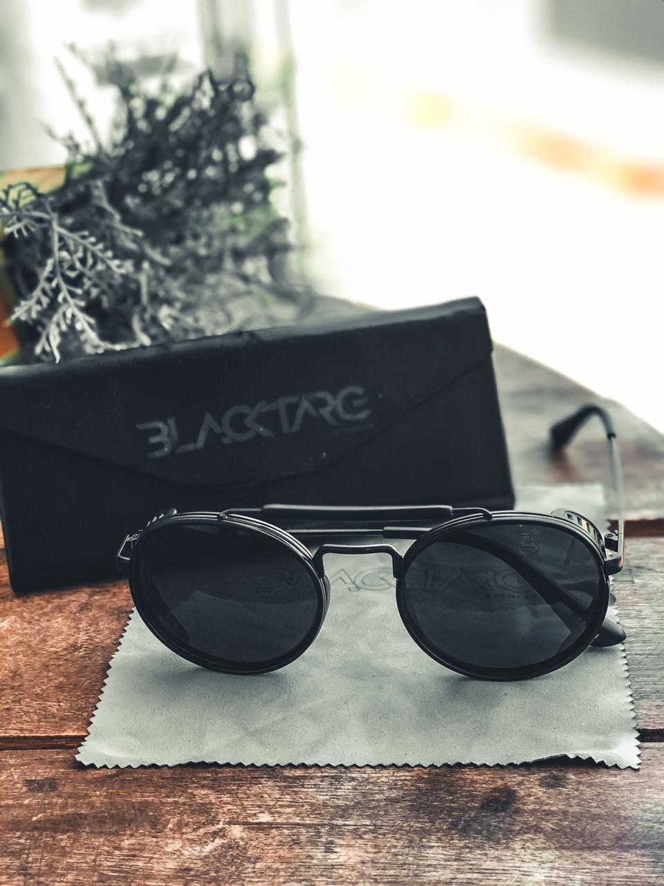 Óculos De Sol Masculino Preto Redondo