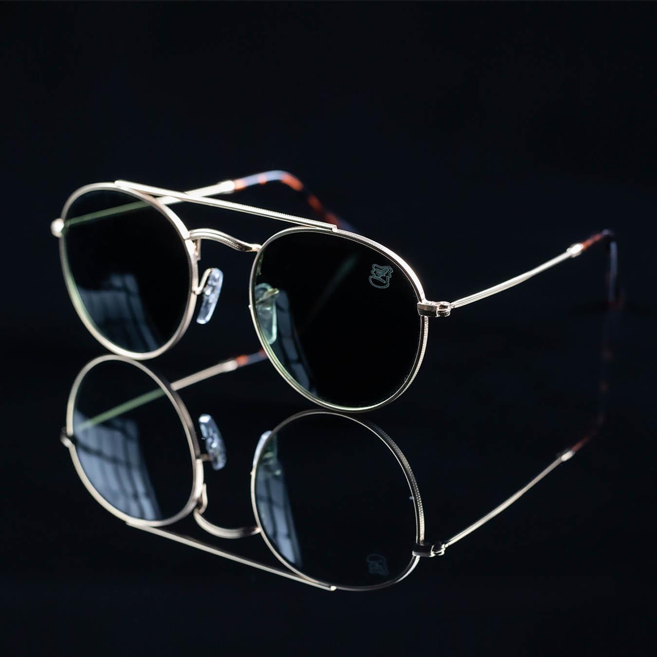 Óculos De Sol Masculino Redondo Dourado