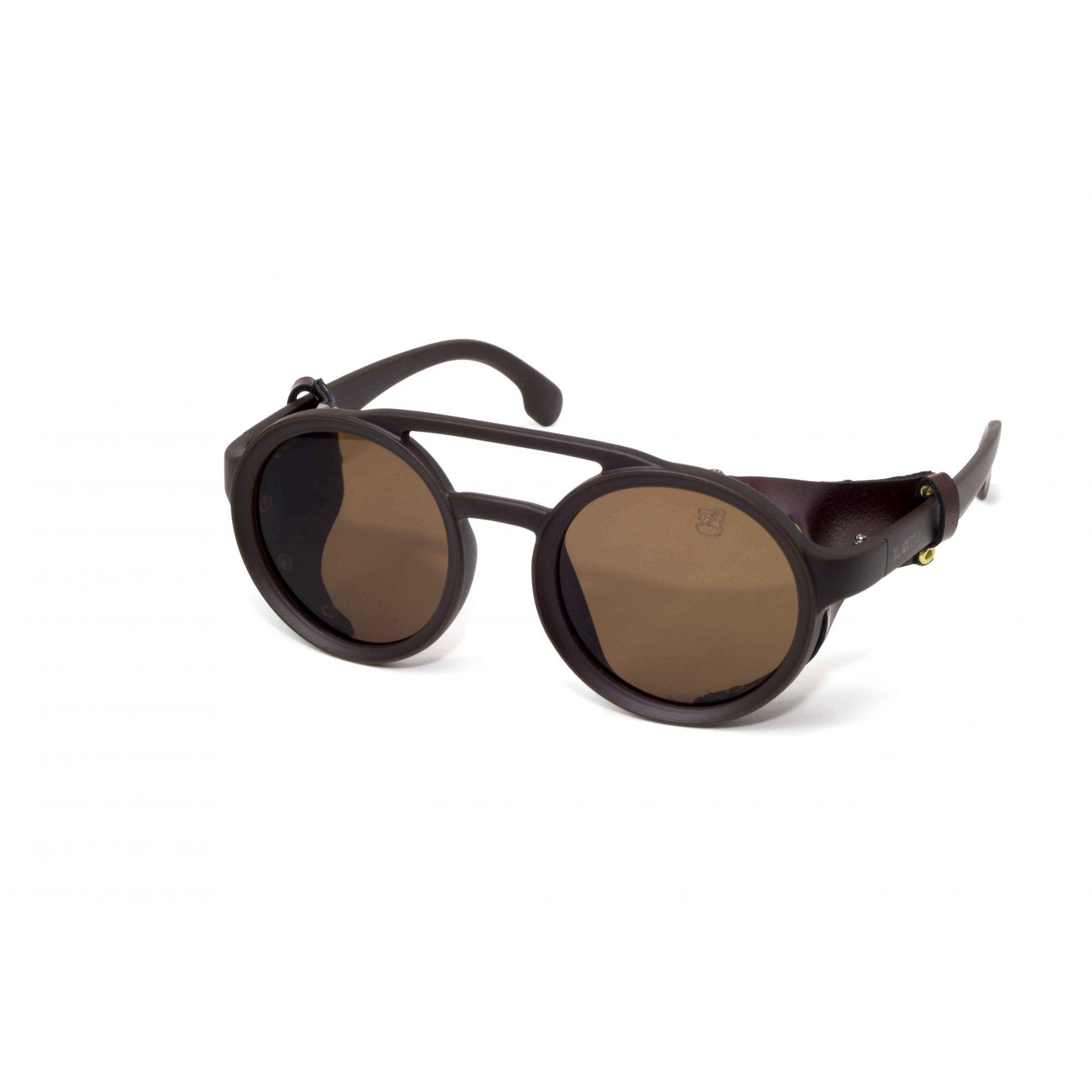 Óculos De Sol Masculino Steampunk Marrom Retro