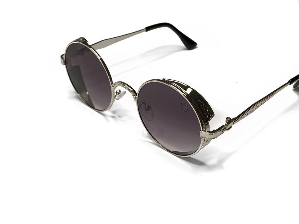 Óculos De Sol Masculino Steampunk Prata
