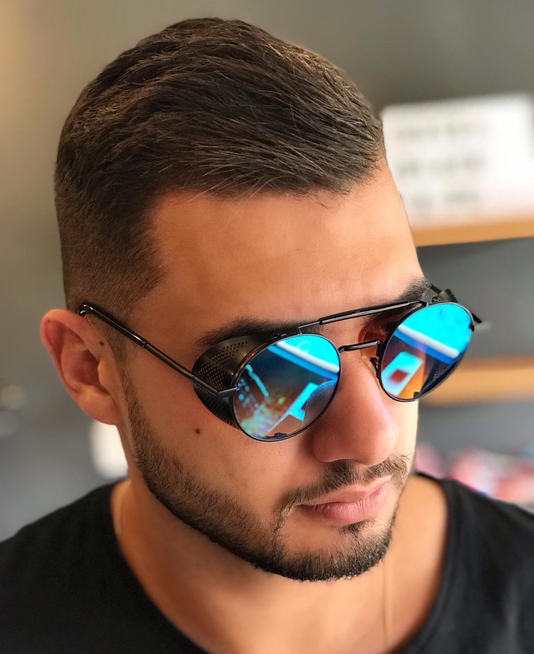 Óculos De Sol Masculino Steampunk Retro Espelhado