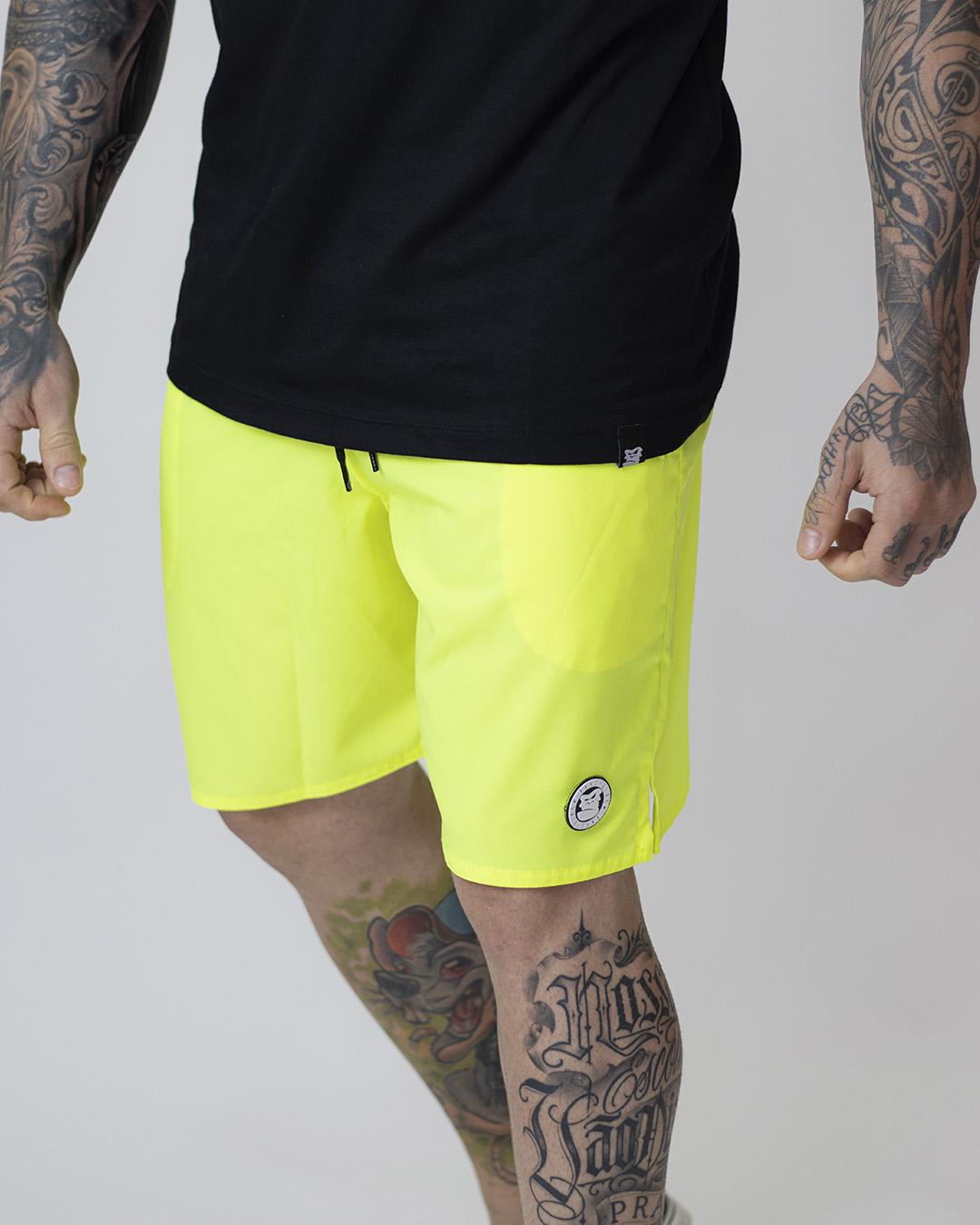 Shorts praia amarelo florescente