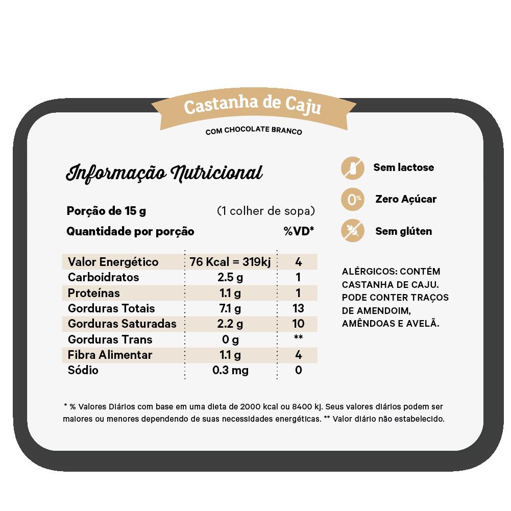 Creme  de Castanha de Cajú com Chocolate Branco 450g