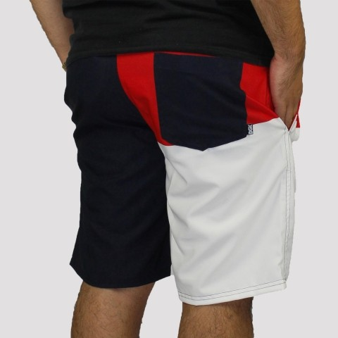 Bermuda DGK Slipt - Marinho/ Vermelho/ Branco