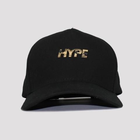 Boné Hype Aba Curva Logo Camu - Preto