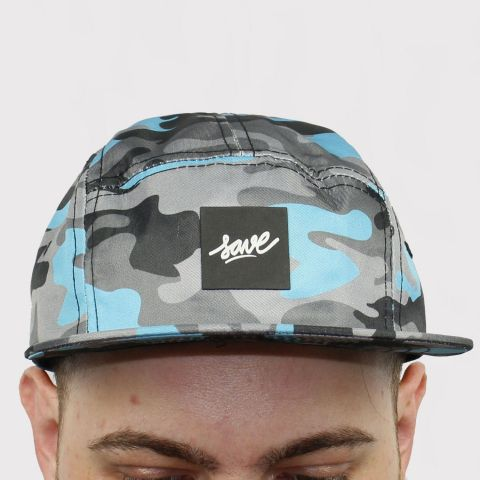 Boné Save Five Panel Camuflado - Azul/Cinza/Preto