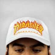 Boné Thrasher Dad Hat Flame - Branco
