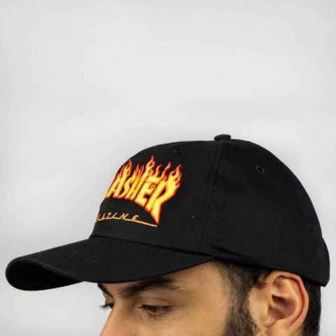 Boné Thrasher Dad Hat Flame - Preto