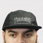 Boné Thrasher Five Panel Flame Outline - Preto