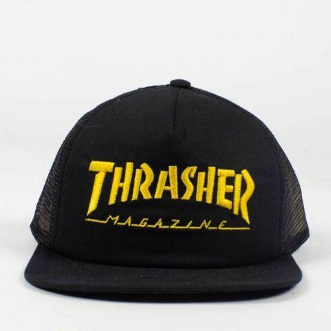 Boné Thrasher Mag Logo Mesh - Preto/Amarelo