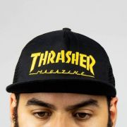 Boné Thrasher Mag Logo Mesh Preto/Amarelo