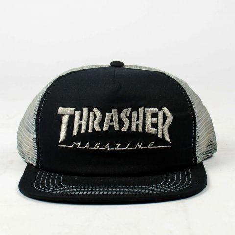 Boné Thrasher Trucker Mag Logo Mesh - Preto/Cinza