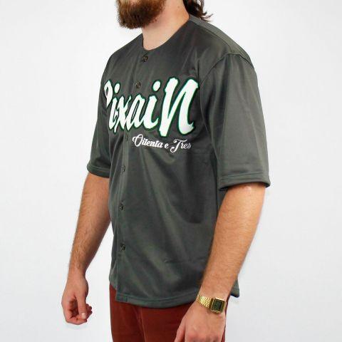 Camisa Pixa In Baseball Cinza Escura/Branca/Verde
