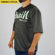 Camisa Baseball Pixa In Cinza Escura/Branca/Verde (Tamanho Especial)