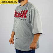 Camisa Baseball Pixa In Cinza/Vermelho (Tamanho Especial)