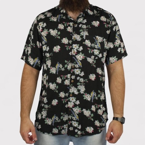 Camisa Foton Pássaros - Preta