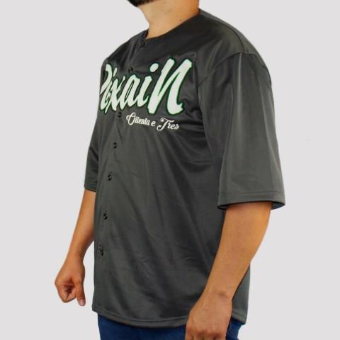 Camisa Pixa In Baseball (Tamanho Especial) - Cinza Escura/Branca/Verde