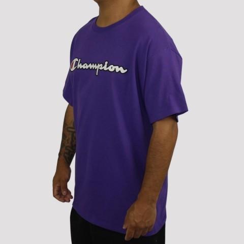 Camiseta Champion Logo Manuscrito - Roxo