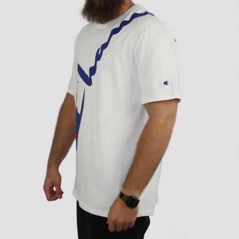 Camiseta Champion Logo Script Diagonal - Branco/Azul