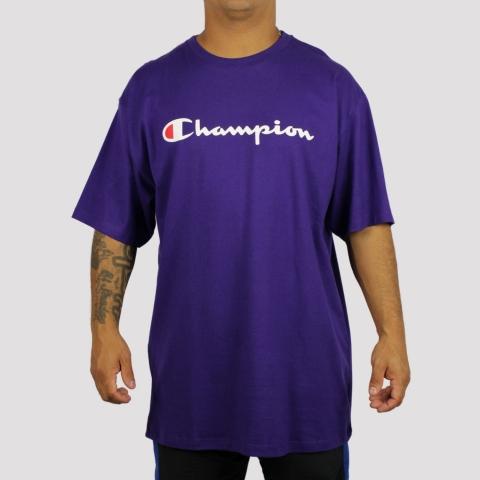 Camiseta Champion Logo Script Heritage - Roxo
