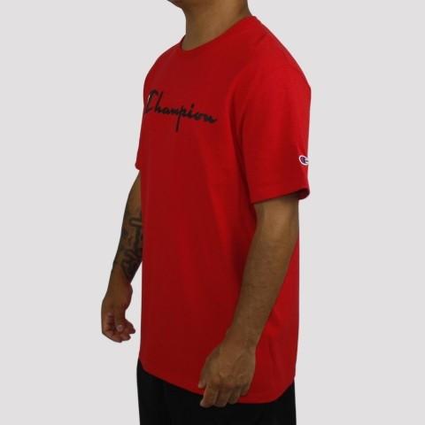 Camiseta Champion Logo Script Heritage - Vermelho