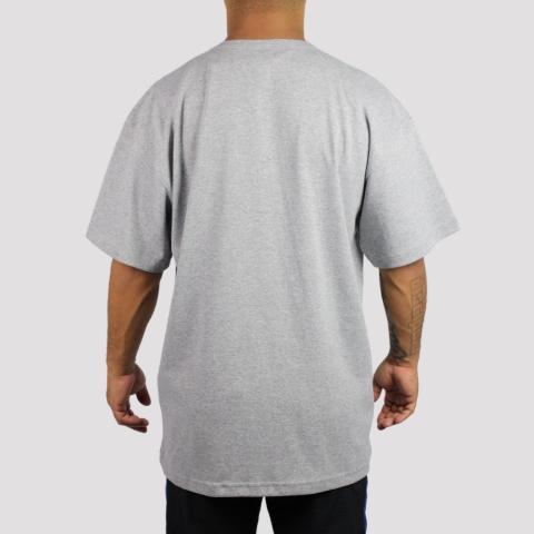 Camiseta Champion Script Patch Logo - Cinza