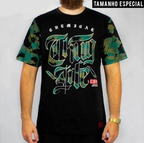Camiseta Chemical Thug Life - Preta/Camuflada (Tamanho Especial)