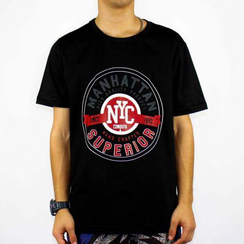 Camiseta Conduta Manhattan Superior - Preta/Branca/Vermelha