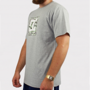 Camiseta DC Shoes Basica Pattern Cinza Mescla/Branco/Camuflado