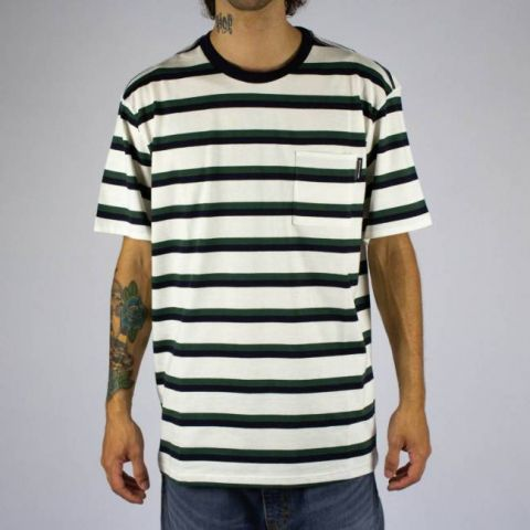 Camiseta DC Shoes Oakride - Branca Listrada