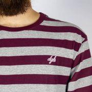 Camiseta DGK Folson Listrada Burgundy/Cinza Mescla