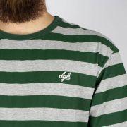 Camiseta DGK Folson Listrada Verde/Cinza Mescla