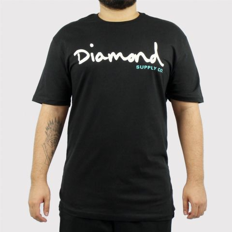 Camiseta Diamond OG Script - Black/Preto