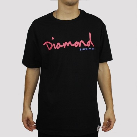 Camiseta Diamond Script - Black
