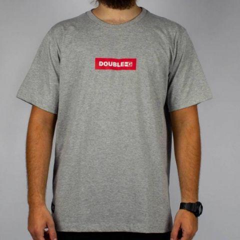 Camiseta Double G Logo Cinza Mescla/Vermelha