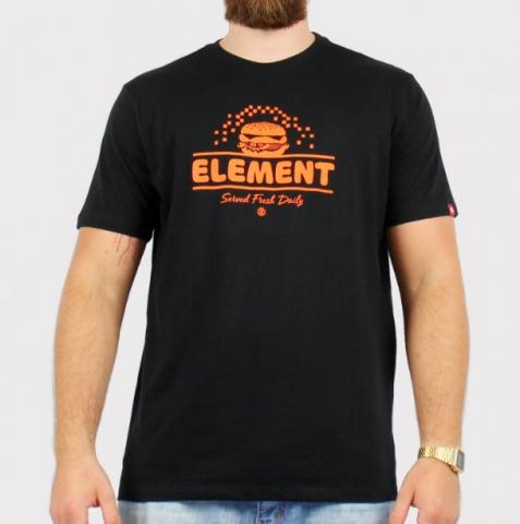 Camiseta Element Burguer - Preto/Laranja