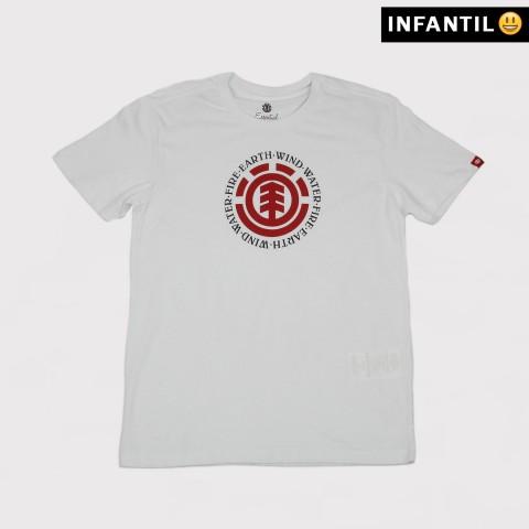 Camiseta Element Juvenil Seal BK - Branco/Vermelho/Preto