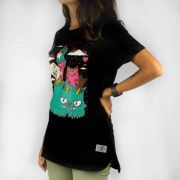 Camiseta Feminina Chemical Color Cats Preta