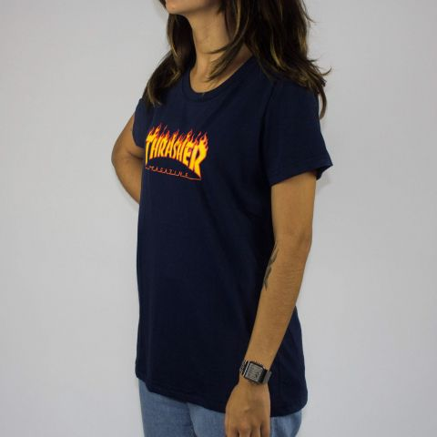 Camiseta Thrasher Flame Feminina Logo - Azul Marinho