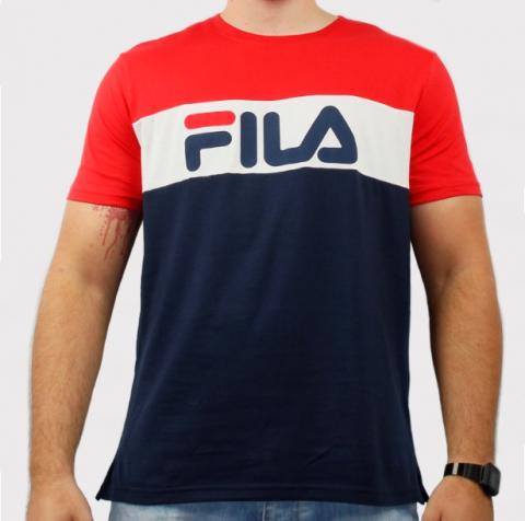 Camiseta Fila Letter Colors - Vermelho/ Branco/Azul