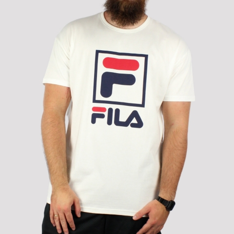 Camiseta Fila Stack New - Off White/Marinho