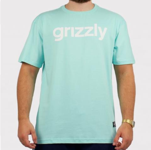 Camiseta Grizzly Lowercase Logo - Azul Bebê/Branco