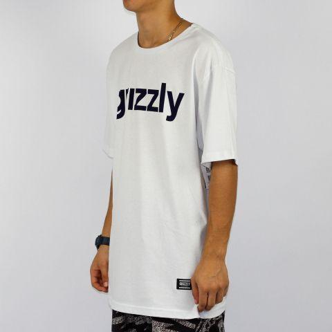 Camiseta Grizzly Lowercase Logo - Azul marinho/Branca