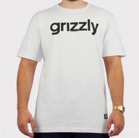 Camiseta Grizzly Lowercase Logo - Branco/Preto